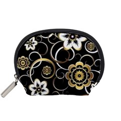 Beautiful Gold And White Flowers On Black Accessory Pouches (small)  by flipstylezdes