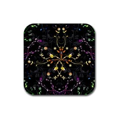 Beautiful Floral Swirl Brushes Vector Design Rubber Square Coaster (4 Pack)  by flipstylezdes