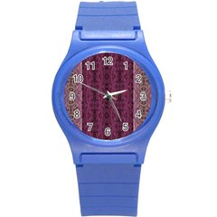 Beautiful Decorative Creative Purple Seamless Design By Kiekie Stricklnd Round Plastic Sport Watch (s)