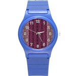 Beautiful decorative Creative purple seamless design by kiekie stricklnd Round Plastic Sport Watch (S) Front