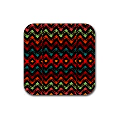 Seamless Native Zigzags By Flipstylez Designs Rubber Square Coaster (4 Pack)  by flipstylezdes