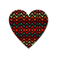 Seamless Native Zigzags By Flipstylez Designs Heart Magnet