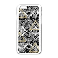 Retro Black And White Gold Design By Kiekiestrickland Apple Iphone 6/6s White Enamel Case by flipstylezdes