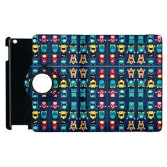 Funny Monsters In Blue Background Apple Ipad 2 Flip 360 Case