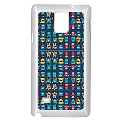 Funny Monsters In Blue Background Samsung Galaxy Note 4 Case (white)