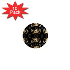 Golden Flowers On Black With Tiny Gold Dragons Created By Kiekie Strickland 1  Mini Magnet (10 Pack)  by flipstylezdes