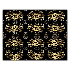 Golden Flowers On Black With Tiny Gold Dragons Created By Kiekie Strickland Rectangular Jigsaw Puzzl by flipstylezdes