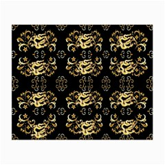 Golden Flowers On Black With Tiny Gold Dragons Created By Kiekie Strickland Small Glasses Cloth