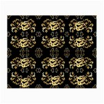 golden flowers on black with tiny gold dragons created by Kiekie Strickland Small Glasses Cloth Front