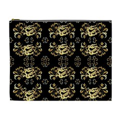 Golden Flowers On Black With Tiny Gold Dragons Created By Kiekie Strickland Cosmetic Bag (xl)