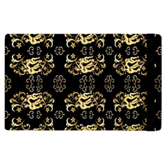Golden Flowers On Black With Tiny Gold Dragons Created By Kiekie Strickland Apple Ipad 2 Flip Case by flipstylezdes