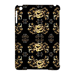 Golden Flowers On Black With Tiny Gold Dragons Created By Kiekie Strickland Apple Ipad Mini Hardshell Case (compatible With Smart Cover) by flipstylezdes