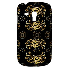 Golden Flowers On Black With Tiny Gold Dragons Created By Kiekie Strickland Samsung Galaxy S3 Mini I8190 Hardshell Case
