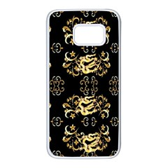 Golden Flowers On Black With Tiny Gold Dragons Created By Kiekie Strickland Samsung Galaxy S7 White Seamless Case