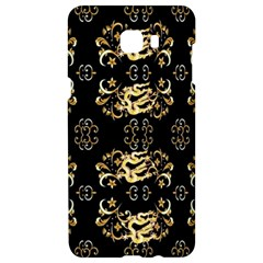 Golden Flowers On Black With Tiny Gold Dragons Created By Kiekie Strickland Samsung C9 Pro Hardshell Case