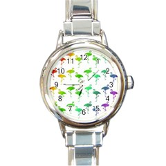 Flamingo Pattern Rainbow Colors Round Italian Charm Watch by CrypticFragmentsColors