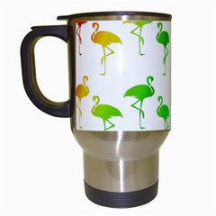Flamingo Pattern Rainbow Colors Travel Mugs (white) by CrypticFragmentsColors