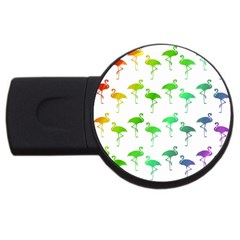 Flamingo Pattern Rainbow Colors Usb Flash Drive Round (4 Gb) by CrypticFragmentsColors