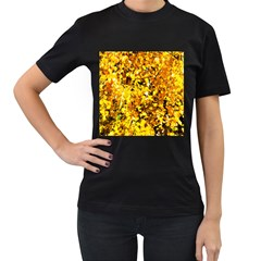 Birch Tree Yellow Leaves Women s T-shirt (black) (two Sided) by FunnyCow