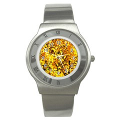 Birch Tree Yellow Leaves Stainless Steel Watch by FunnyCow