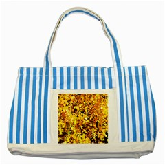 Birch Tree Yellow Leaves Striped Blue Tote Bag by FunnyCow