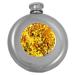 Birch Tree Yellow Leaves Round Hip Flask (5 Oz) by FunnyCow