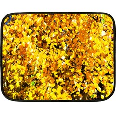 Birch Tree Yellow Leaves Double Sided Fleece Blanket (mini)  by FunnyCow