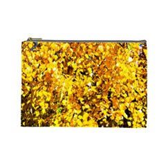 Birch Tree Yellow Leaves Cosmetic Bag (large) by FunnyCow