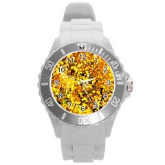 Birch Tree Yellow Leaves Round Plastic Sport Watch (l) by FunnyCow