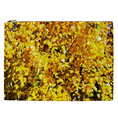 Birch Tree Yellow Leaves Cosmetic Bag (xxl) by FunnyCow