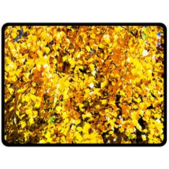 Birch Tree Yellow Leaves Double Sided Fleece Blanket (large)  by FunnyCow