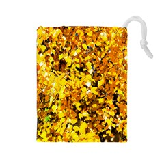 Birch Tree Yellow Leaves Drawstring Pouches (large)  by FunnyCow