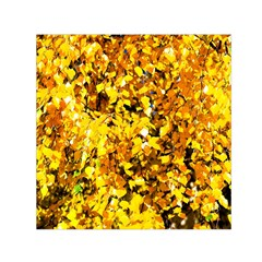 Birch Tree Yellow Leaves Small Satin Scarf (square) by FunnyCow