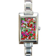 Colorful Petunia Flowers Rectangle Italian Charm Watch by FunnyCow