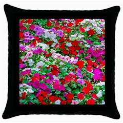 Colorful Petunia Flowers Throw Pillow Case (black) by FunnyCow
