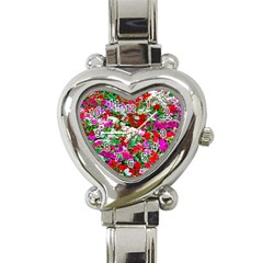 Colorful Petunia Flowers Heart Italian Charm Watch by FunnyCow
