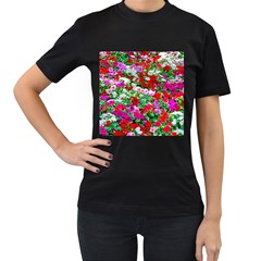 Colorful Petunia Flowers Women s T Shirt (black) (two Sided) by FunnyCow