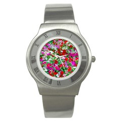 Colorful Petunia Flowers Stainless Steel Watch by FunnyCow