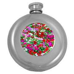 Colorful Petunia Flowers Round Hip Flask (5 Oz) by FunnyCow