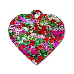 Colorful Petunia Flowers Dog Tag Heart (two Sides) by FunnyCow