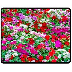 Colorful Petunia Flowers Fleece Blanket (medium)  by FunnyCow