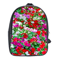 Colorful Petunia Flowers School Bag (xl) by FunnyCow
