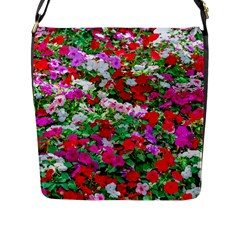Colorful Petunia Flowers Flap Messenger Bag (l)  by FunnyCow