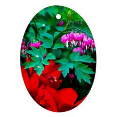 Bleeding Heart Flowers Ornament (oval) by FunnyCow