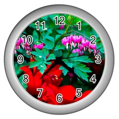 Bleeding Heart Flowers Wall Clock (silver) by FunnyCow