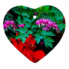 Bleeding Heart Flowers Heart Ornament (two Sides) by FunnyCow