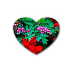 Bleeding Heart Flowers Heart Coaster (4 Pack)  by FunnyCow