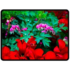 Bleeding Heart Flowers Fleece Blanket (large)  by FunnyCow