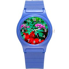 Bleeding Heart Flowers Round Plastic Sport Watch (s) by FunnyCow