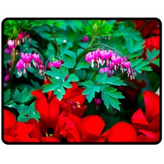 Bleeding Heart Flowers Double Sided Fleece Blanket (medium)  by FunnyCow